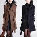 Новый 2016 casacos femininos женское пальто женщин Тонкий Двубортный Шерстяное Пальто Осень Зима шерстяное пальто