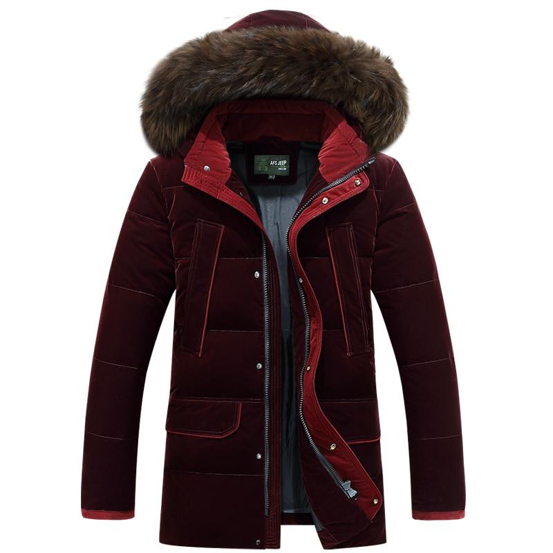 Brand Men   Down   Jackets Fur Collar Thick Warm Windproof Russia Winter Jacket Men White Duck   Down     Coat   Male Overcoat -30 Degree