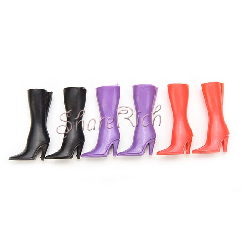 8 Pairs Mix Pairs High Heels Boots Shoes For Barbies Doll Designs Vary Multicolor