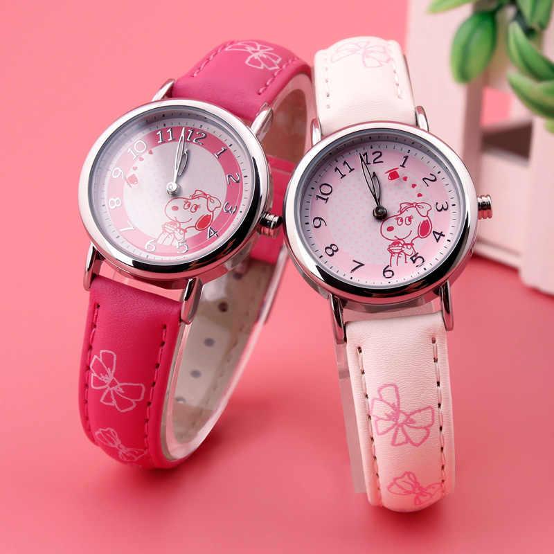 סנופי BELLE ילדים אמיתי בנות חדש relojes Cartoon ילדים שעונים אופנה ילדים חמוד יפן קוורץ שעון relogio feminino 004