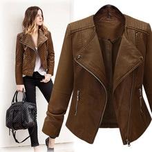 2018 New Spring Long-sleeved Motorcycle Leather Large Size Women's Cardigan Jacket Slim Thin PU Leather Short Jacket Female