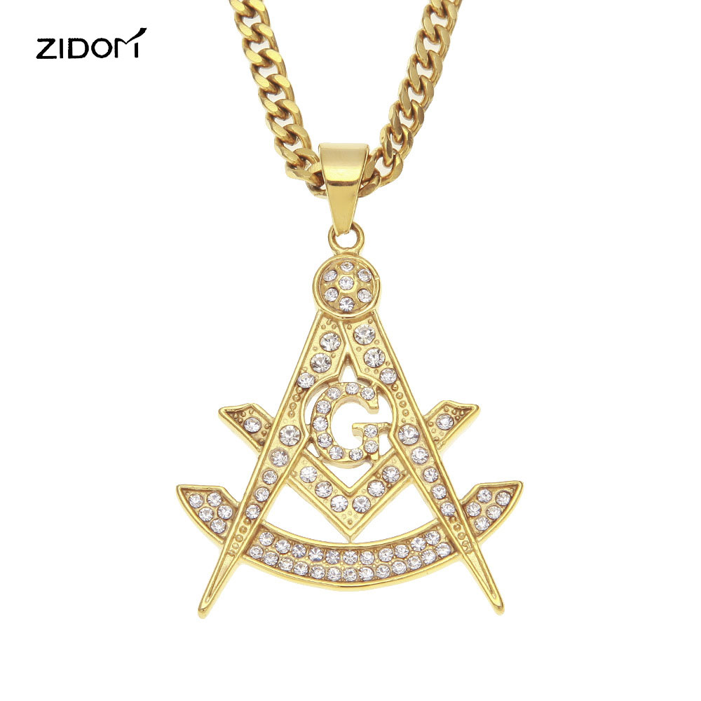 2018 New Gold color Men Hiphop Stainless Steel with rhinestone masonic shape pendant necklaces vintage free mason necklace gifts