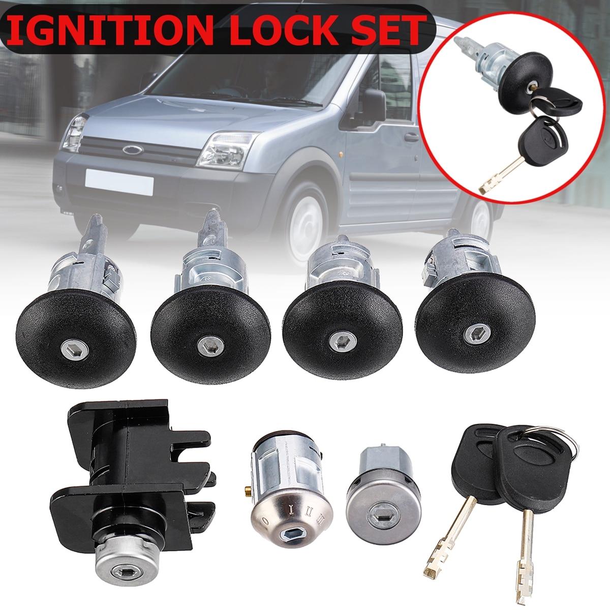 1Set Car Ignition Switch & Door Lock Barrel Set 2 Keys FOR FORD TRANSIT Mk6 Lock 2000 2001 2002 2003-2006 4359018 1C1A-V22050-BA