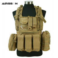 1000D Eagle MLCS Molle RRV Scout Combat Vest With Magazine Pouch Led Flashlight Bottle Holder Airsoft