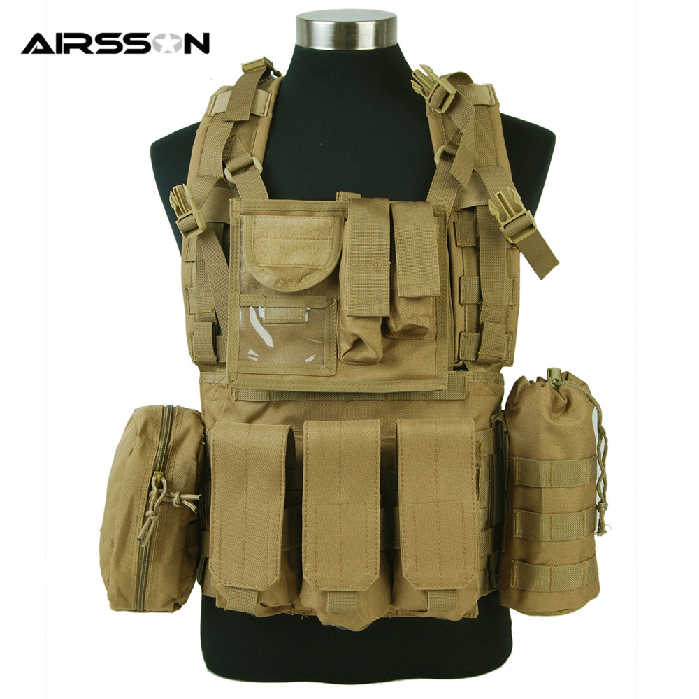 все цены на 1000D MLCS Molle RRV Scout Combat Vest with Magazine Pouch Led Flashlight Bottle Holder Airsoft Tactical Plate Chest Rig онлайн