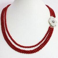 Böhmen-art rote künstliche korallen 6mm runde perlen natürlichen weißen mutter shell blume spange neu 3 reihen halskette 17-18 zoll B1453