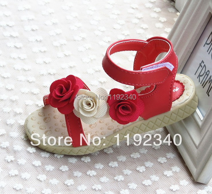 2015 летние сандалии детские, роза цветок formal кора сухожилия маг дно девушки сандалии, дети мода обувь бесплатная доставка