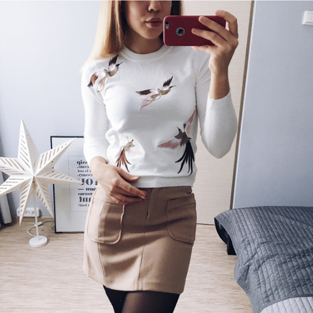 2016 autumn and winter women leisure crane embroidery knitted sweater