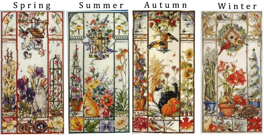Gold Collection Lovely Counted Cross Stitch Kit Spring Summer Autumn Winter Cat Sampler Janlynn 023-0585 0580 0579, Season Cat