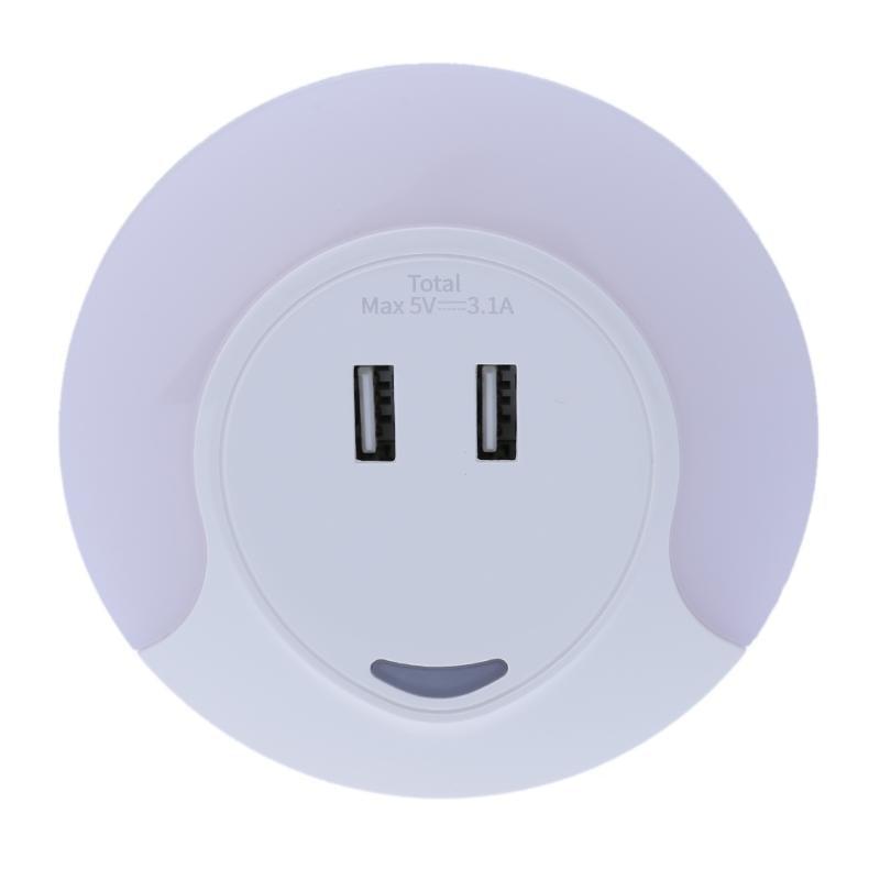 Wall Plug Mount Light Sensor LED Light Bedroom Night Light with 2 USB Port for Charging Mobile phone Wall Socket Light Lamps