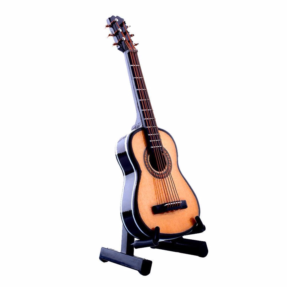 Yuker 1:12 Dollhouse Mini Guitar Miniature Wooden Wood Acoustic Guitar Musical Instrument With Case Stand Box Guitar Decoration wooden 1 12 miniature guitar mini acoustic musical bass instrument ornaments dollhouse case electric model toys accessories