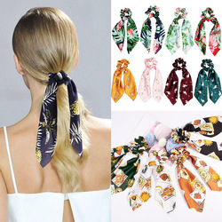 2019 New Arrival DIY Bow Streamers Pineapple Flower Print Hair Scrunchies Ribbon Hair Rope Ties Women Girls Bohemian Hair Bands