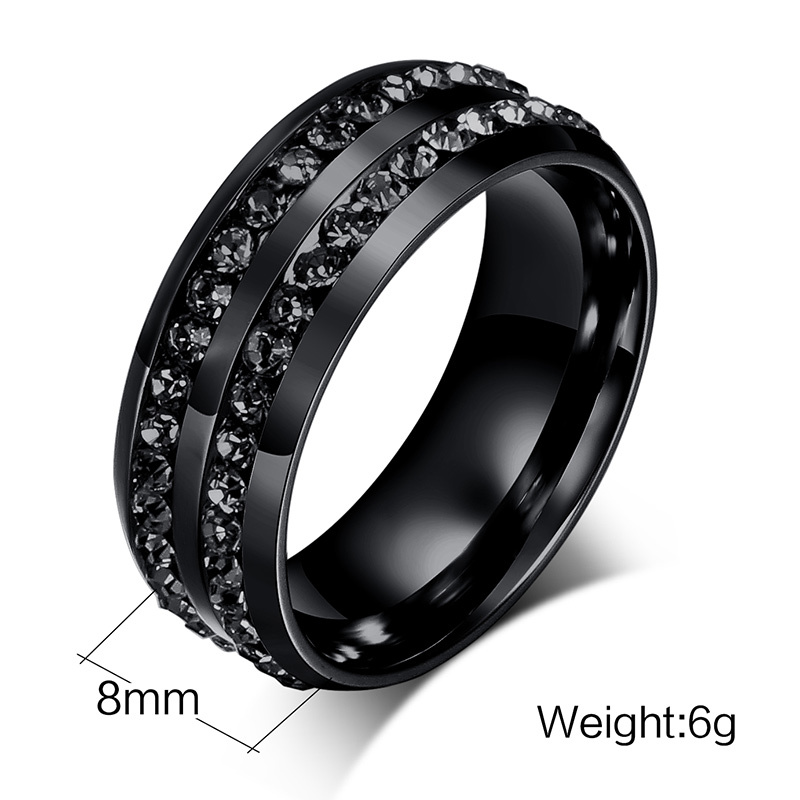 Black Men's Ring with Two Rows of Crystals