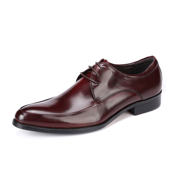 Men Genuine Leather Dress Shoes Oxfords Brogue Derby Cowhide Leather Lace-up Pig Inner Round Toe Wedding Business Shoes 2019