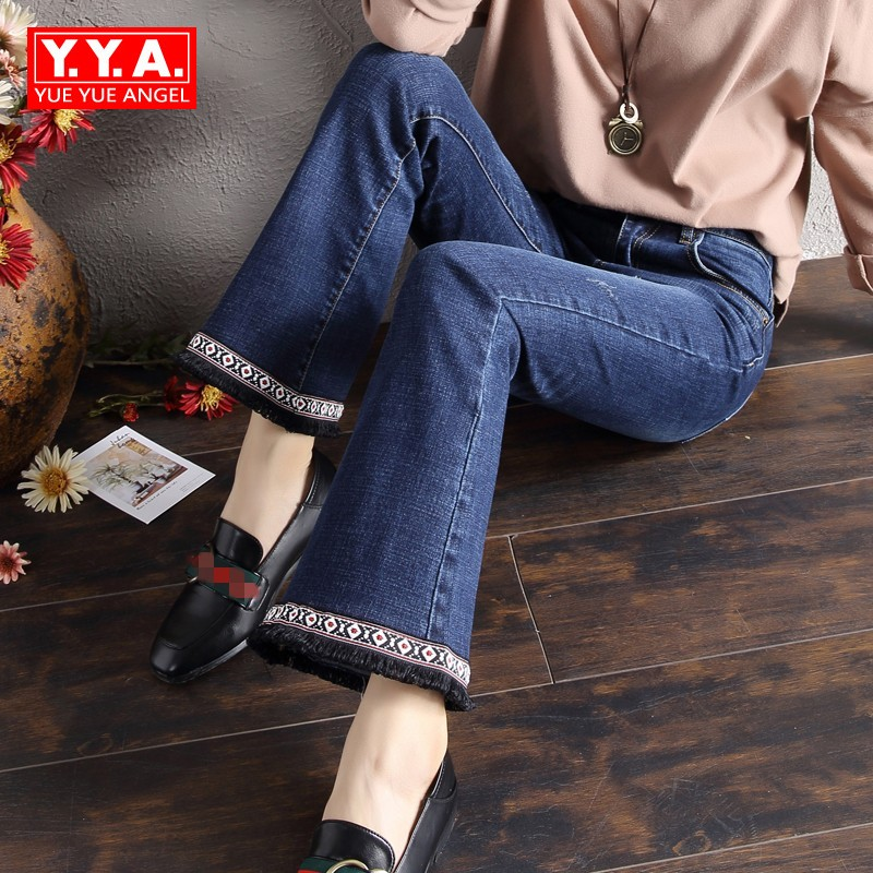 Autumn New Style Retro Womens Jeans Wide Leg Pants Folk Embroidery Tassels Female Trousers Slim Fit Classic Denim Jeans Mujer 2017 new designer korea men s jeans slim fit classic denim jeans pants straight trousers leg blue big size 30 34