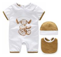 2019 fashion Summer Style 100% Cotton unisex baby boy girl clothes Newborn baby Romper + hat + Bibs sets 3M 6M 9M baby jumpsuit