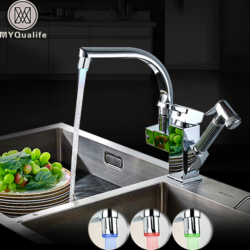 LED Light Kitchen Faucet Mixer Tap Single Handle Two Swivel Spouts Kitchen Hot Cold Water Tap Pull Out Flushing Spray Tap single handle kitchen faucet mixer pull out kitchen tap single hole water tap cold and hot water mixer torneira cozinha xt 58