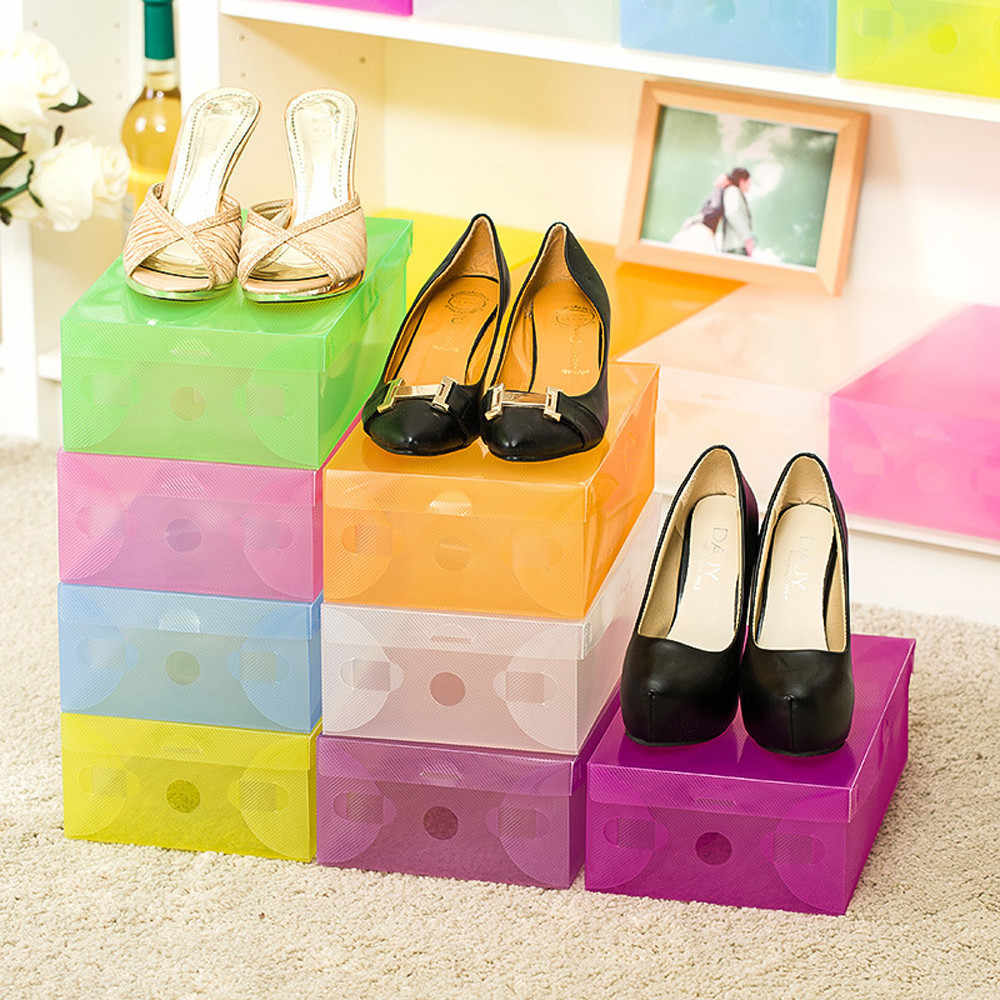 Hot Sell Foldable Plastic Shoe Boxes Organizer Storage Stackable Tidy Box high quality shies storage box