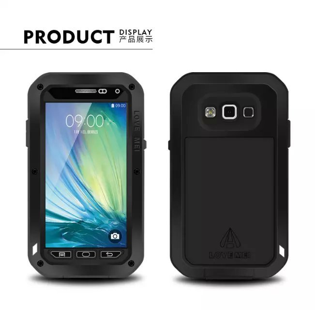 A3 Shockproof Waterproof Metal Case For Samsung galaxy A300 A500 A700 With Gorilla Glass Aluminum Cover
