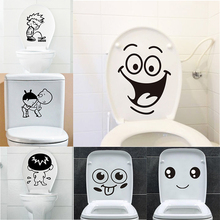 Funny Smile Bathroom Wall Stickers Toilet Home Decoration Waterproof Decals For Sticker Decorative Poster Decor