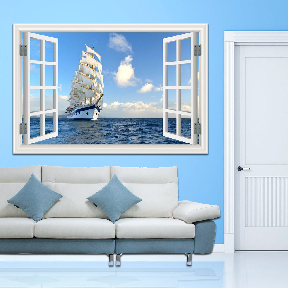 მცურავი ნავი ზღვაზე მაღალი ხარისხის 3D კედლის ხელოვნების მოსახსნელი კედლის სტიკერზე Sailboat ზღვის პეიზაჟი Creative Window View Home Decor