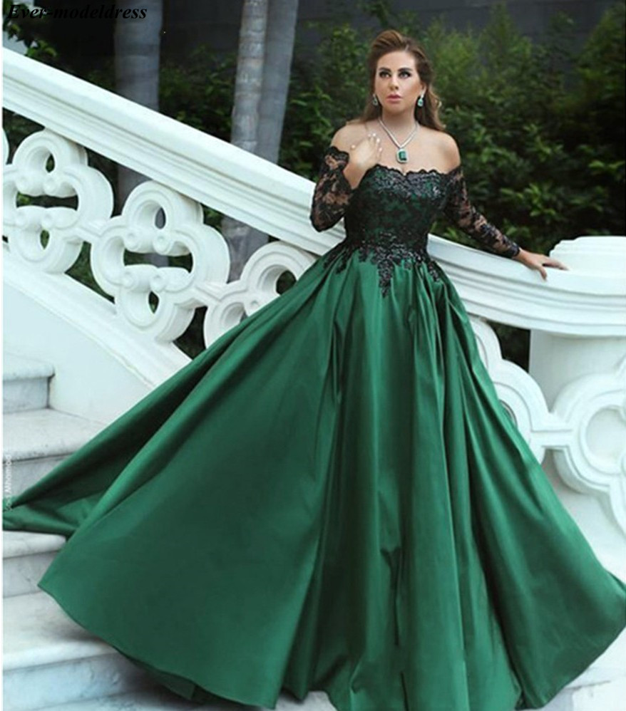 Off Shoulder Dark Green   Prom     Dresses   2019 Long Sleeves Black Sequins Appliques Zipper Back Long Formal Party Gown Robe De Soiree