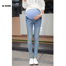 Brand Design Maternity Denim font b Jeans b font Cotton Belly Overalls Maternity Pants for Pregnant