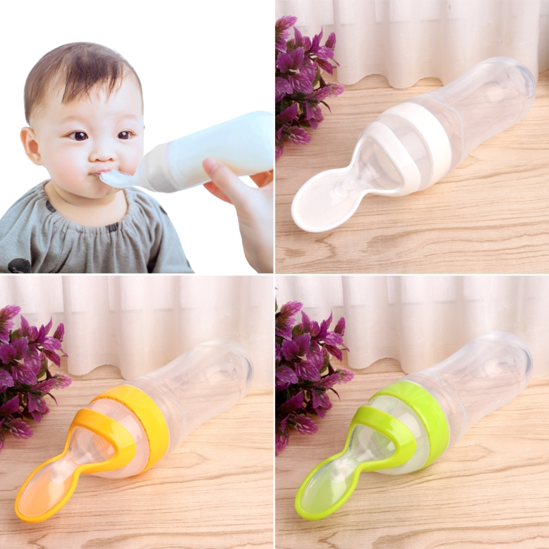 2018 New Infant Baby Kids Silicone Feeding With Spoon