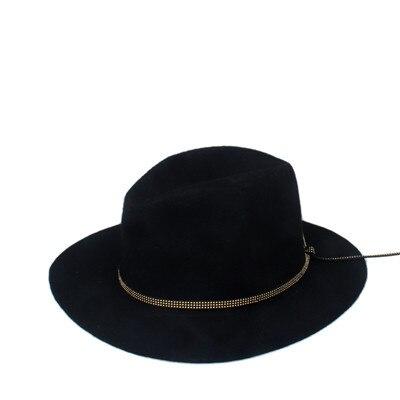Мода шерстяная летняя зимняя женская мужская фетровая шляпа крушаемая натуральная фетровая Солнцезащитная шапка Трилби Gorra Toca Sombrero Панама шляпа - Цвет: Black