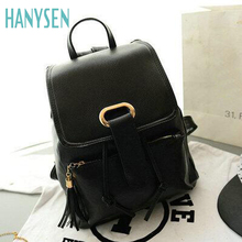 HANYSEN 2017 New Fashion Women High Quality PU Leather Solid Color Backpacks Female Big Tongue Casual Student School Bags