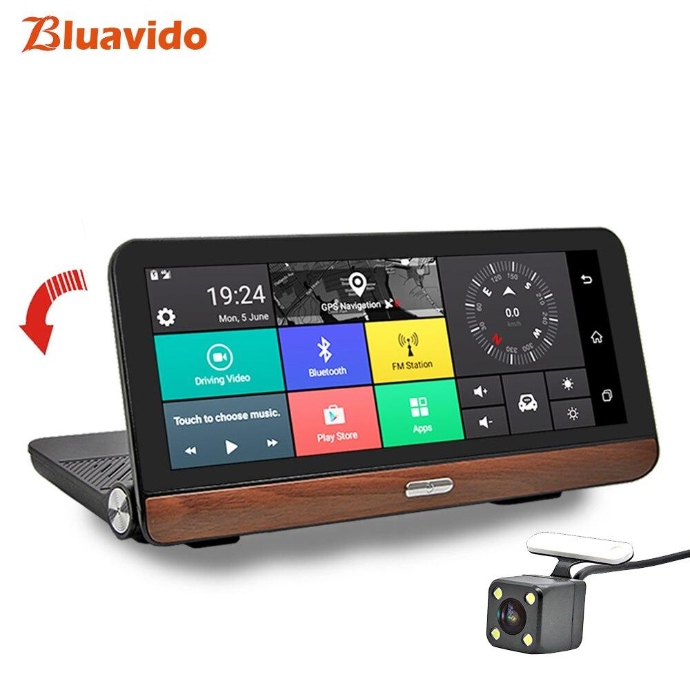 Bluavido 8 дюймов 4 г видеокамера на ОС андроид для автомобиля камера gps Full HD 1080 P регистраторы навигации ADAS двойной объектив автомобиля видео рег