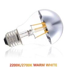 110V/220V Warm White Silver Crown/Bowl LED Filament Bulb A60/A19 Standard Shape 4W/6W/8W E26/E27 Half Mirror Edison Light