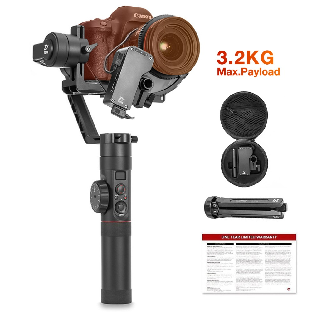 Zhiyun Guindaste 2 3-Eixo Cardan Handheld Estabilizador com Follow Focus Controle para Todos DSLR e Câmera Mirrorless up a 3.2 kg