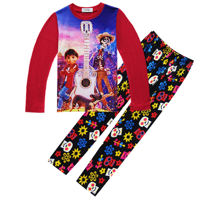 3c3a14a4d Boy Pajamas Clothing Set Movie Coco Miguel Hector Long Sweater & Pants Two  Pieces Outfits Children Tops Toddler Kid Clothing Set