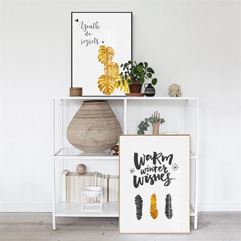 Impresión moderna nórdica de la hoja de oro de la hoja del arte de - Decoración del hogar