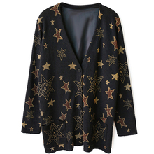 women's high quality autumn winter brand runway fashion loose oversize black v-neck knited star thick cardigan jacket sweater