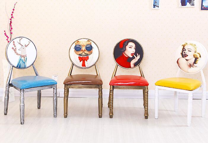 European-style Retro Chair Nail Chair Personalized Custom Iron Old Theme Hotel Dining Chair Creative Back Makeup Chair.