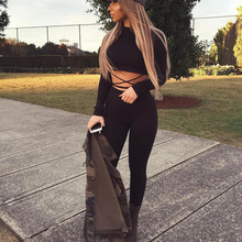 2016 Autumn Black Bodycon Jumpsuit Sexy Two Piece Hollow Out Tie Up Bandage Rompers Women Sets Overalls Club Party Outfits
