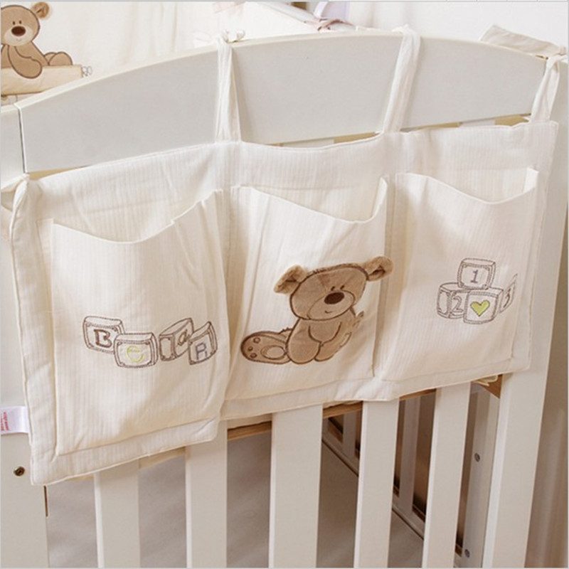 Baby Bed Hanging Storage Bag Cotton Newborn Crib Organizer Toy Diaper Pocket For Crib Bedding Set Accessories Nappy Store Bags