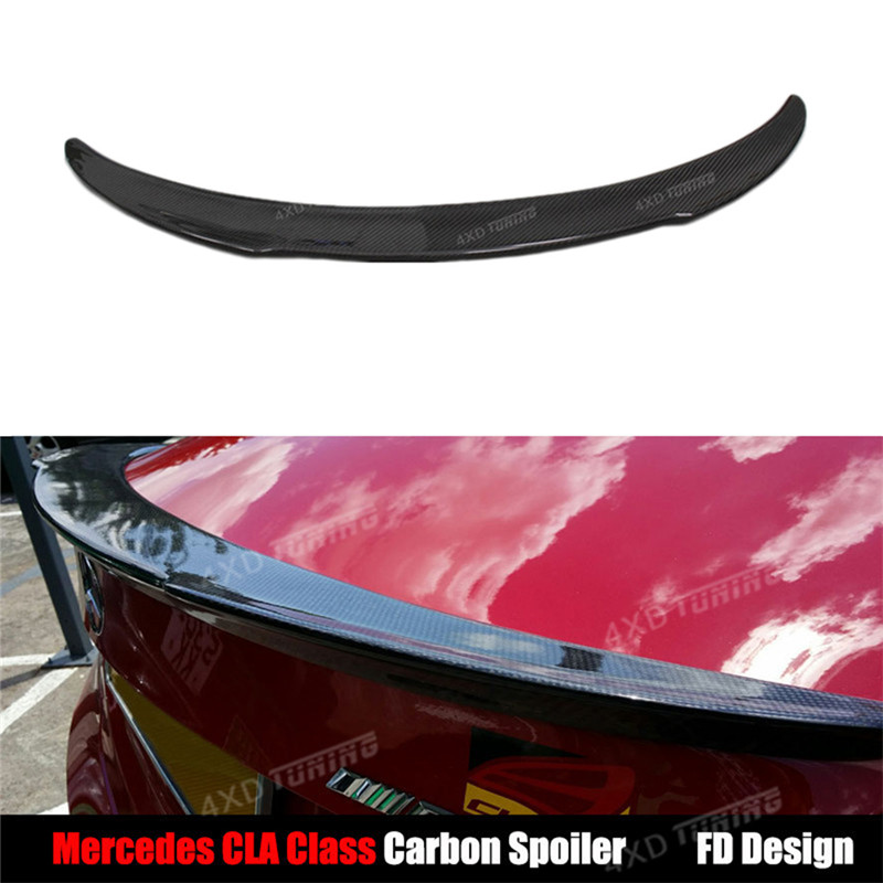 For Mercedes CLA W117 Spoiler FD Style CLA Class C117 CLA45 AMG CLA200 CLA220 CLA250 Carbon Fiber Rear Spoiler Wing 2013 - UP mercedes cla w117 amg style replacement cf rear trunk wing spoiler for benz 2013 cla 180 cla200 cla 250