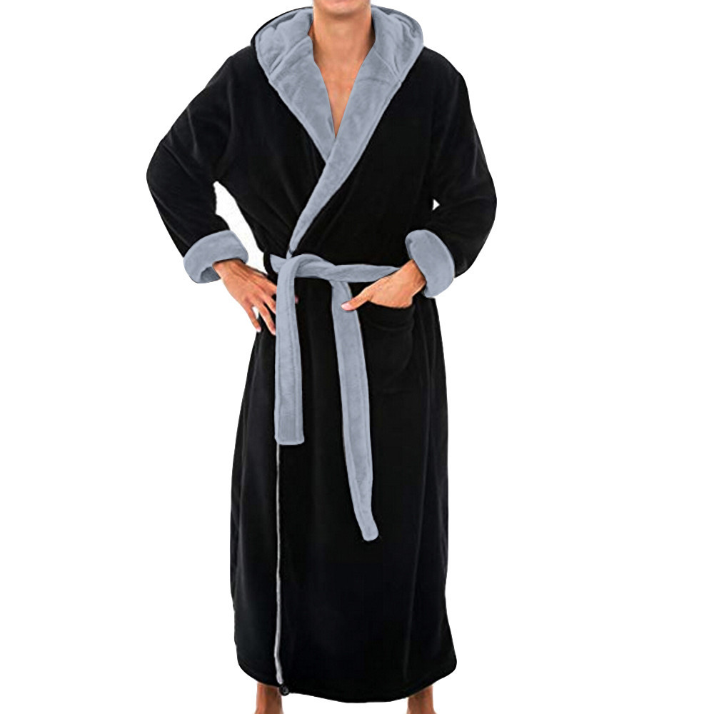 Hot Men's Winter Lengthened Plush Shawl Bathrobe Home Clothes Long Sleeved Robe Coat Robe De Chambre Homme Dropshipping  #1112