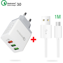 Universal 3 Ports Charger USB Quick Charge 3.0 for iPhone/Huawei/Samsung/Xiaomi 5V 3A EU US Travel Fast Plug Charger with Cable quick charge 3 0 usb charger travel for iphone samsung micro usb type c fast charging 3 ports eu us plug mobile phone charge