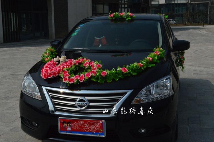 2017 neue Kunstseide Rose Blumen Hochzeit Auto Dekoration Set Mit - Partyartikel und Dekoration - Foto 2