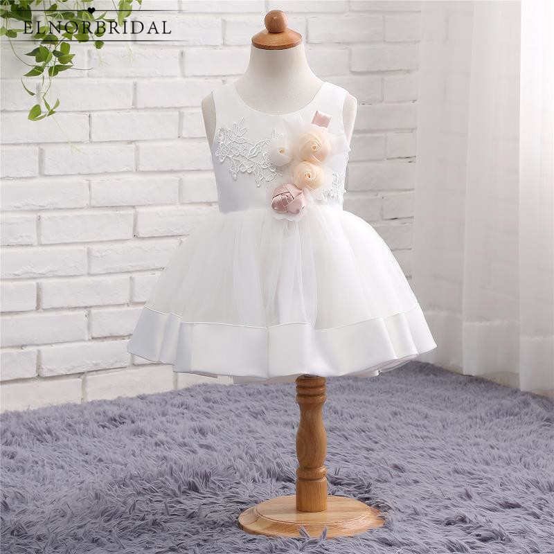 White/Ivory   Flower     Girl     Dress   Cheap 2019 Handmade Little   Girls   Toddler First Communion   Dress   Weddings Party Gowns