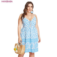 Summer Boho Dress Backless Blue Floral Sling Stripe Lace Stretch Women Plus Size Casual Beach Female Bandage Vestidos 4XL