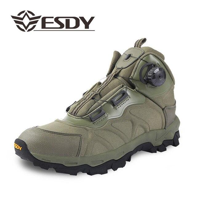 Erkekler Rahat Iş Ayakkabıları Bahar Otomatik Toka Su Geçirmez Tuval Savaş Ayak Bileği Boot Taktik Askeri Ordu Çizmeler Mens
