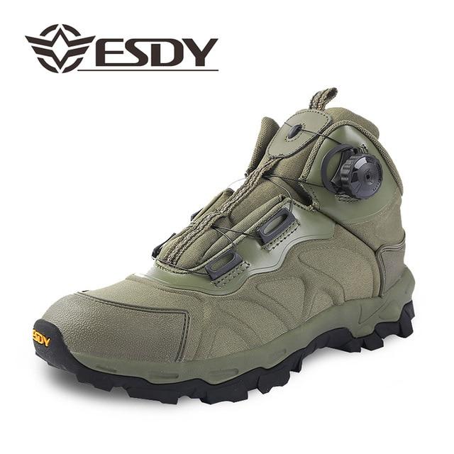 Männer Gelegenheitsarbeit Schuhe Frühjahr Automatische Schnalle Wasserdicht Leinwand Kampf Knöchel Boot Taktische Militärische Armee Stiefel Herren