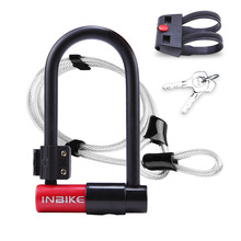 Bike U Lock Anti-theft Bicycle Cycling MTB Road Heavy Duty Steel Security Cable U-Lock Set With Key