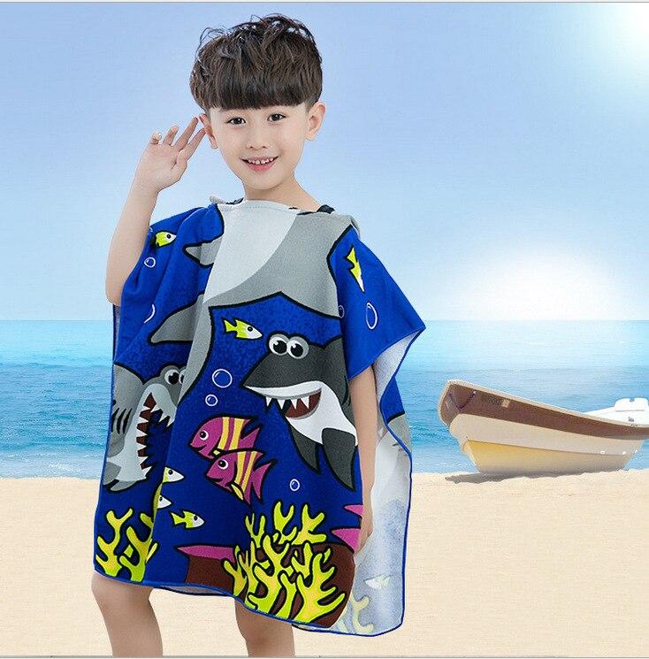 6-13 Years Old Boys Girls Children Kids Towel Bath with Hood Cap Microfiber Bathrobe Cartoon Beach Towels Wrap Robe Cloak