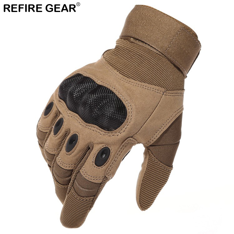 Refire Gear Outdoor Full Finger Gloves Men Anti-Skid Carbon Shell Cycling Tactical Gloves Bicycle Hiking Climbing Male Gloves